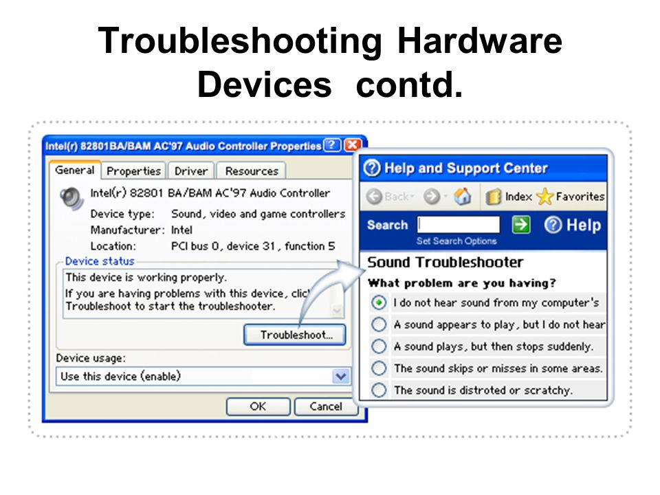 Troubleshooting Hardware Devices contd.