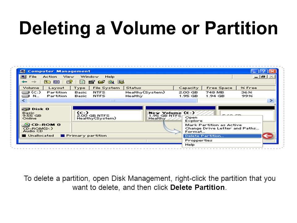 Deleting a Volume or Partition To delete a partition, open Disk Management, right-click the partition that you want to delete, and then click Delete Partition.