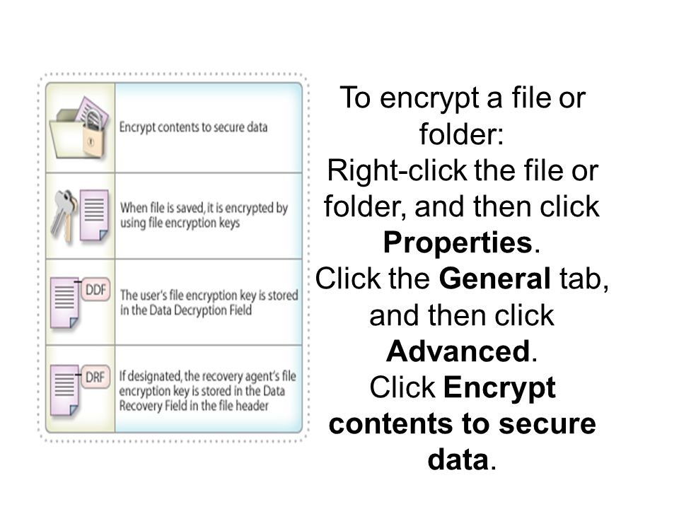 To encrypt a file or folder: Right-click the file or folder, and then click Properties.