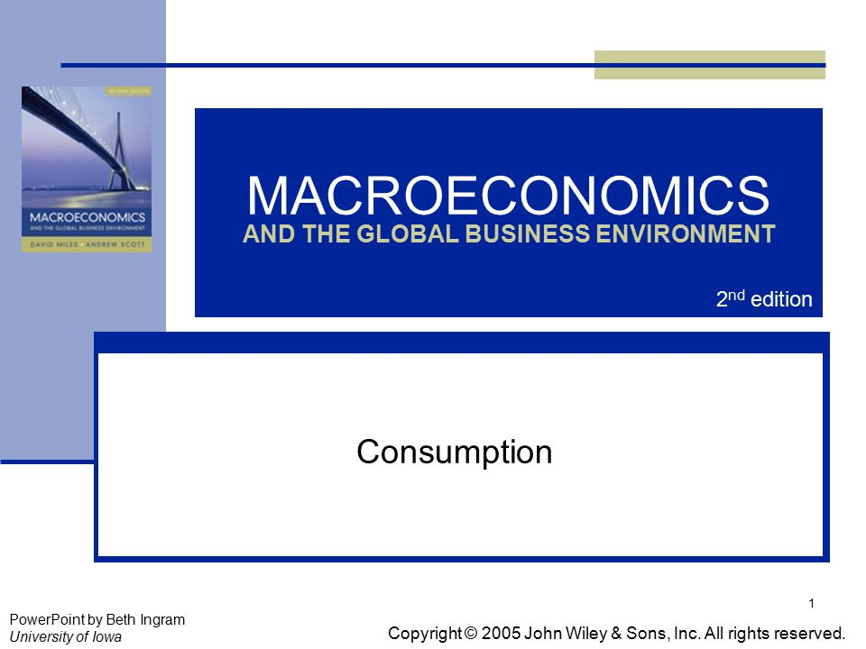 1 MACROECONOMICS AND THE GLOBAL BUSINESS ENVIRONMENT Consumption Copyright © 2005 John Wiley & Sons, Inc.