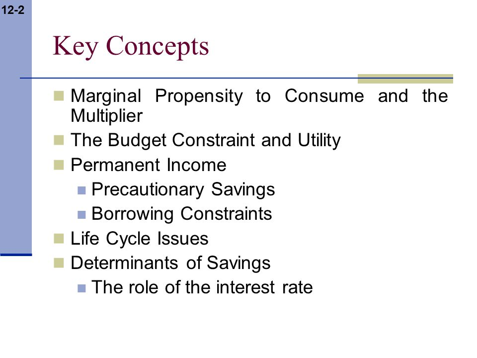 12-2 Key Concepts Marginal Propensity to Consume and the Multiplier The Budget Constraint and Utility Permanent Income Precautionary Savings Borrowing Constraints Life Cycle Issues Determinants of Savings The role of the interest rate