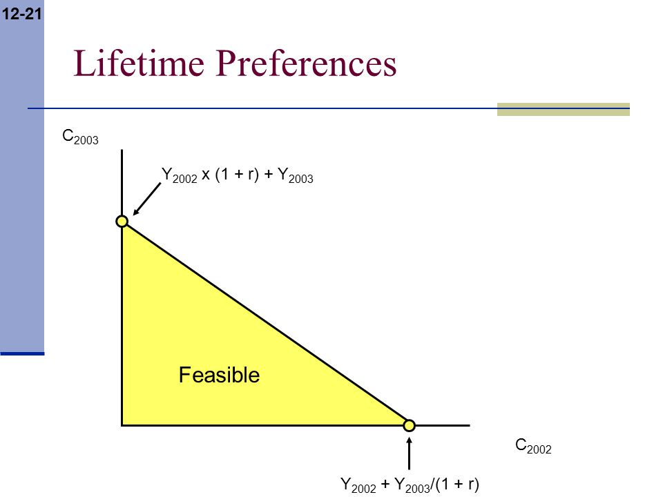 12-21 Feasible Lifetime Preferences C 2002 C 2003 Y 2002 + Y 2003 /(1 + r) Y 2002 x (1 + r) + Y 2003