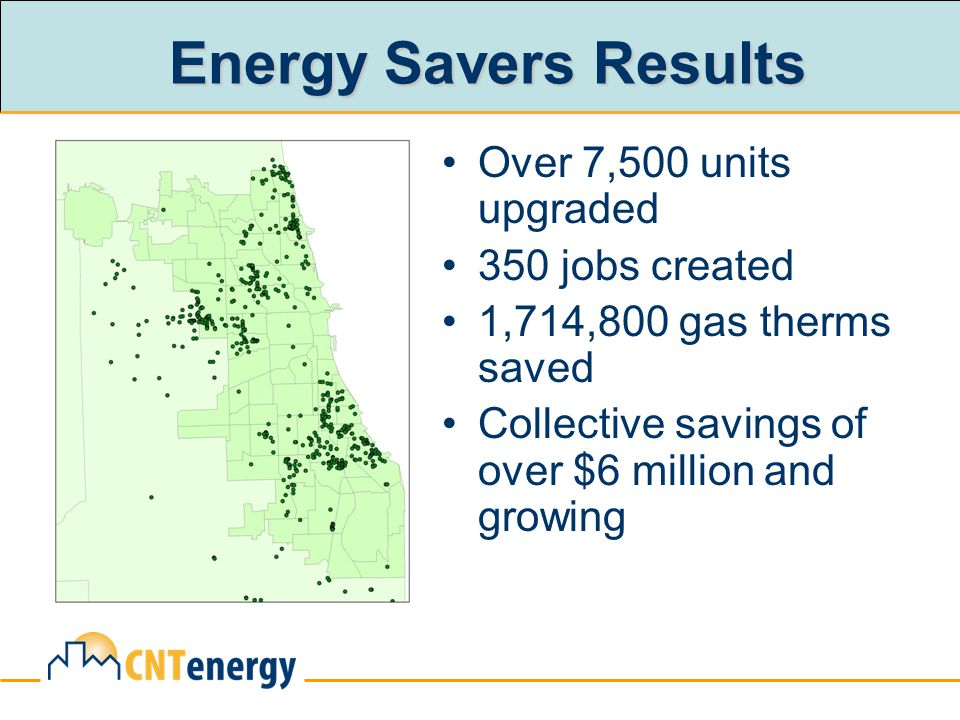 Energy Savers Results Over 7,500 units upgraded 350 jobs created 1,714,800 gas therms saved Collective savings of over $6 million and growing