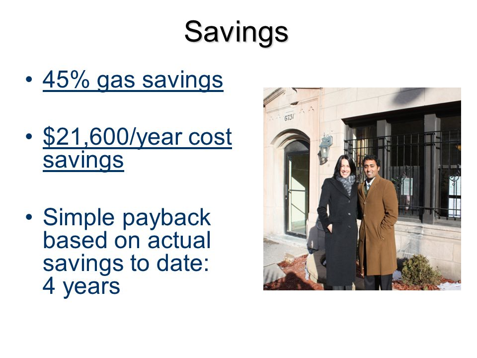 Savings 45% gas savings $21,600/year cost savings Simple payback based on actual savings to date: 4 years