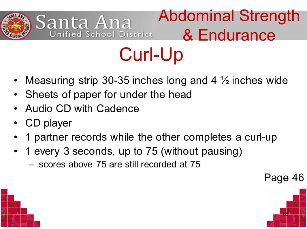 Curl-Up Measuring strip 30-35 inches long and 4 ½ inches wide Sheets of paper for under the head Audio CD with Cadence CD player 1 partner records while the other completes a curl-up 1 every 3 seconds, up to 75 (without pausing) –scores above 75 are still recorded at 75 Page 46 18 Abdominal Strength & Endurance