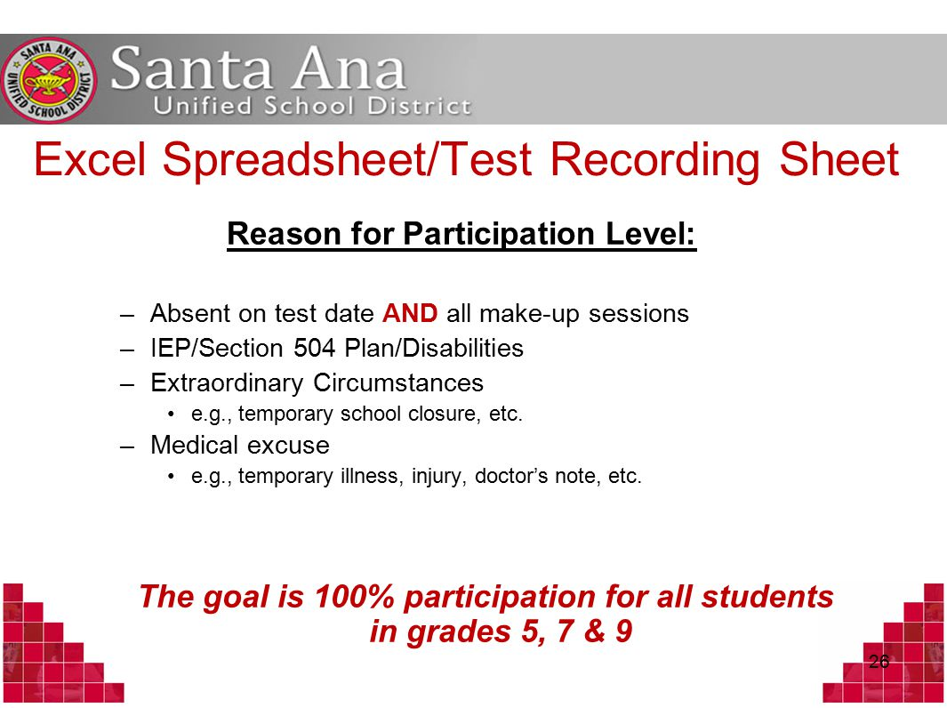 Excel Spreadsheet/Test Recording Sheet Reason for Participation Level: –Absent on test date AND all make-up sessions –IEP/Section 504 Plan/Disabilities –Extraordinary Circumstances e.g., temporary school closure, etc.