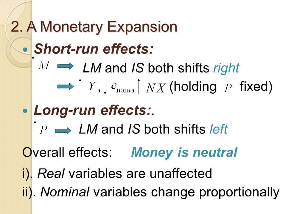 Short-run effects: LM and IS both shifts right,, (holding fixed) Long-run effects:.