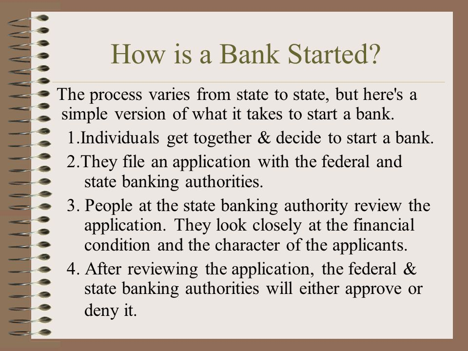 How is a Bank Started.