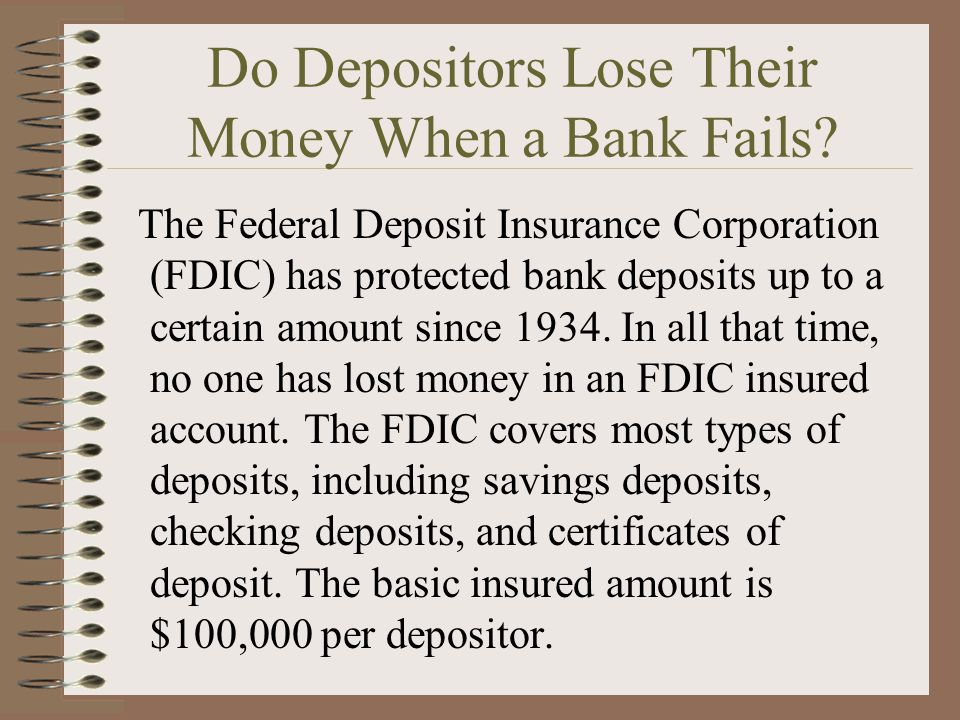 Do Depositors Lose Their Money When a Bank Fails.