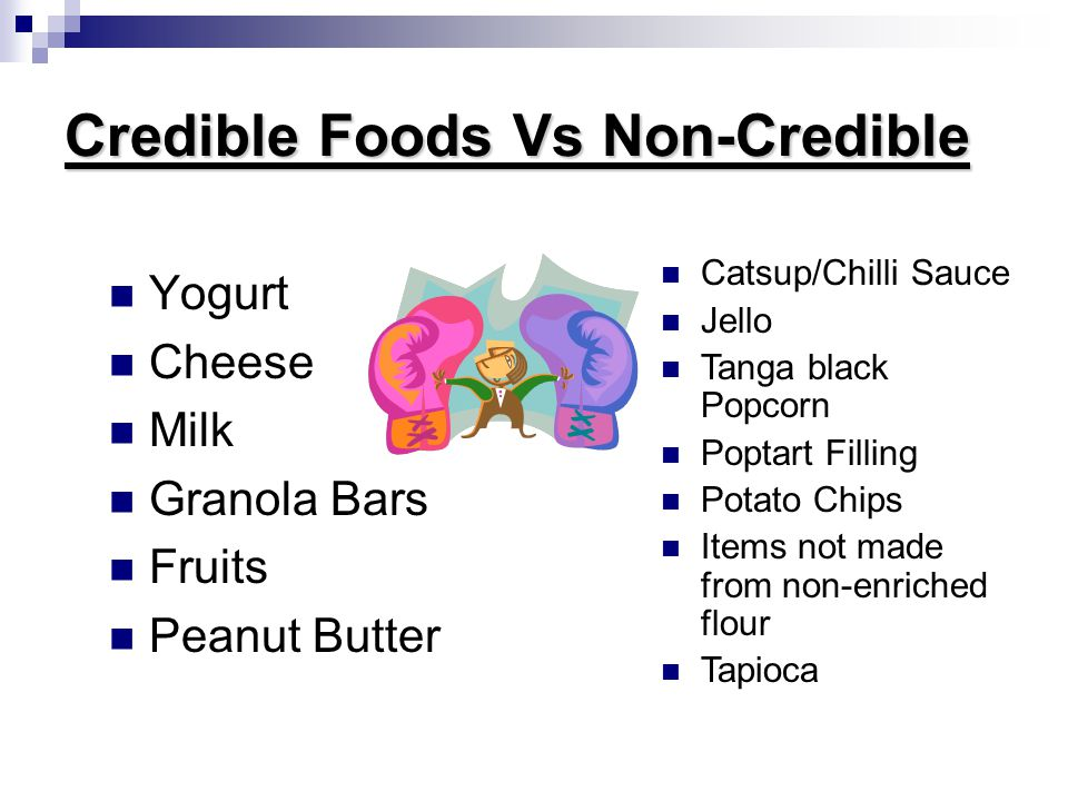 Credible Foods Vs Non-Credible Yogurt Cheese Milk Granola Bars Fruits Peanut Butter Catsup/Chilli Sauce Jello Tanga black Popcorn Poptart Filling Potato Chips Items not made from non-enriched flour Tapioca