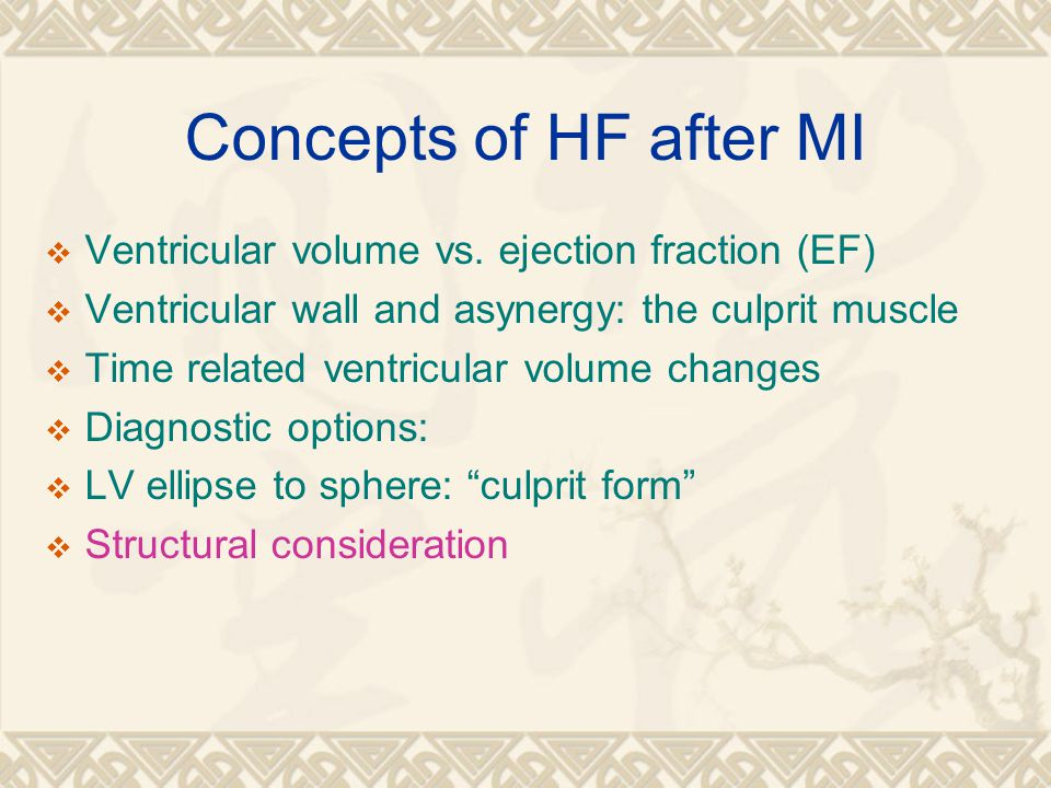 Concepts of HF after MI  Ventricular volume vs.