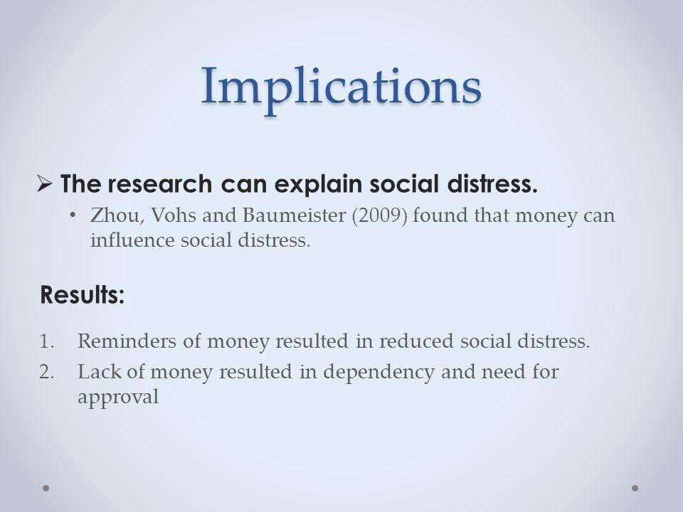 Implications  The research can explain social distress.