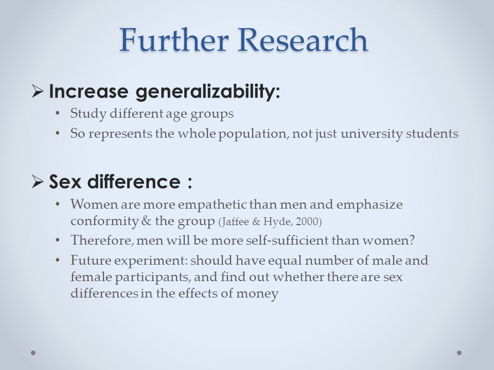 Further Research  Increase generalizability: Study different age groups So represents the whole population, not just university students  Sex difference : Women are more empathetic than men and emphasize conformity & the group (Jaffee & Hyde, 2000) Therefore, men will be more self-sufficient than women.