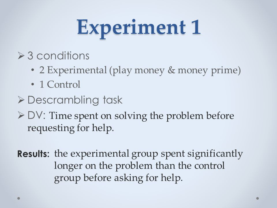 Experiment 2  2 conditions High (abundance) money Low (restricted amount of) money  Read aloud an essay  DV: Time spent on solving the impossible task before requesting for help.