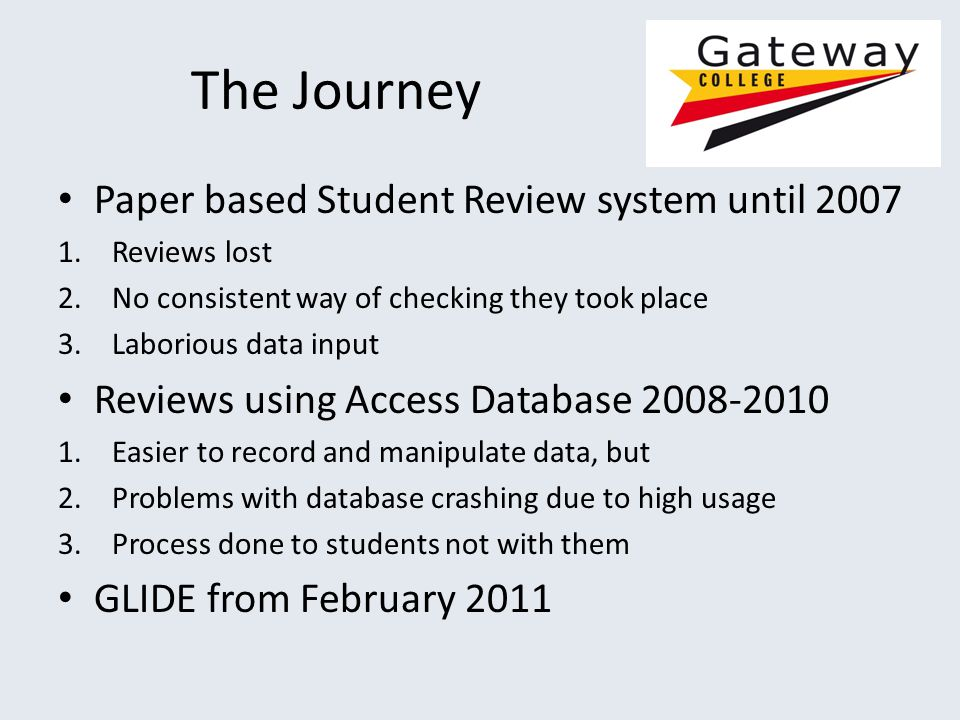 The Journey Paper based Student Review system until 2007 1.Reviews lost 2.No consistent way of checking they took place 3.Laborious data input Reviews using Access Database 2008-2010 1.Easier to record and manipulate data, but 2.Problems with database crashing due to high usage 3.Process done to students not with them GLIDE from February 2011