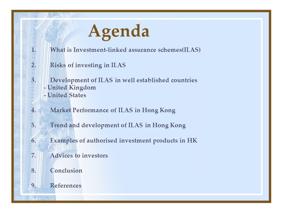 AIA Asset Accumulator Flexibility to adjust regular premium –Adjust regular premium at anytime –Minimum US150$ per mouth for each increase Death benefit –Securing the future against uncertainties Source: http://www.aia.com.hk/product_c/4_2ili.html Rachel