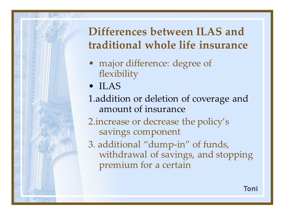Development of ILAS However, since 1991: - VUL  its market share In 1996: - occupying ≥ 20% (of life insurance market) - VUL: dominant form of investment-linked life insurance products in US Reasons (significant growth): - good performance of equity investments - popularity of mutual funds Customerinterest Toro