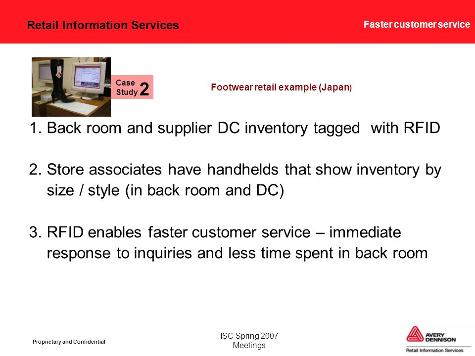 Retail Information Services Proprietary and Confidential ISC Spring 2007 Meetings Faster customer service 1.Back room and supplier DC inventory tagged