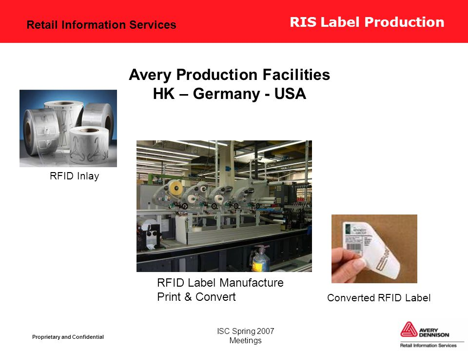 Retail Information Services Proprietary and Confidential ISC Spring 2007 Meetings Avery Production Facilities HK – Germany - USA Converted RFID Label