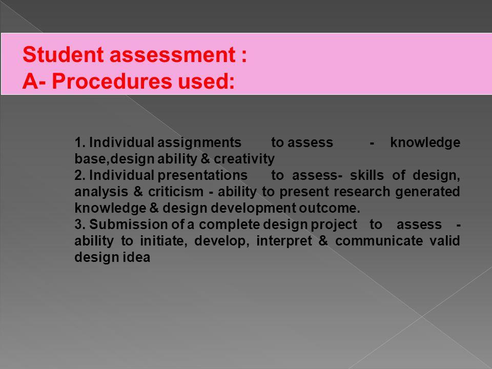 Student assessment : B- Schedule