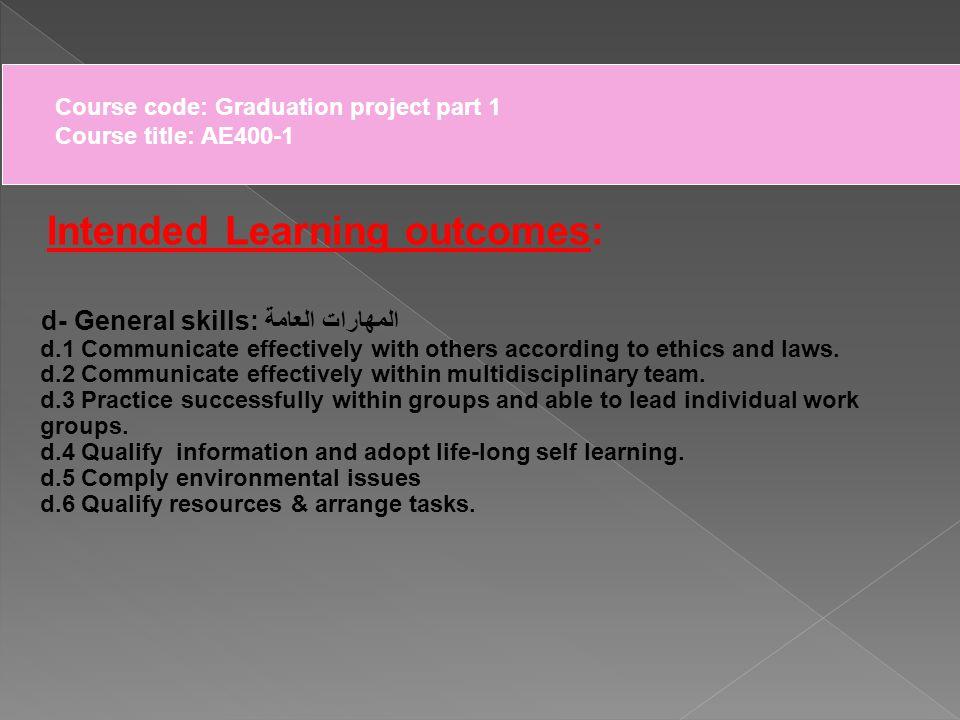Course code: Graduation project part 1 Course title: AE400-1