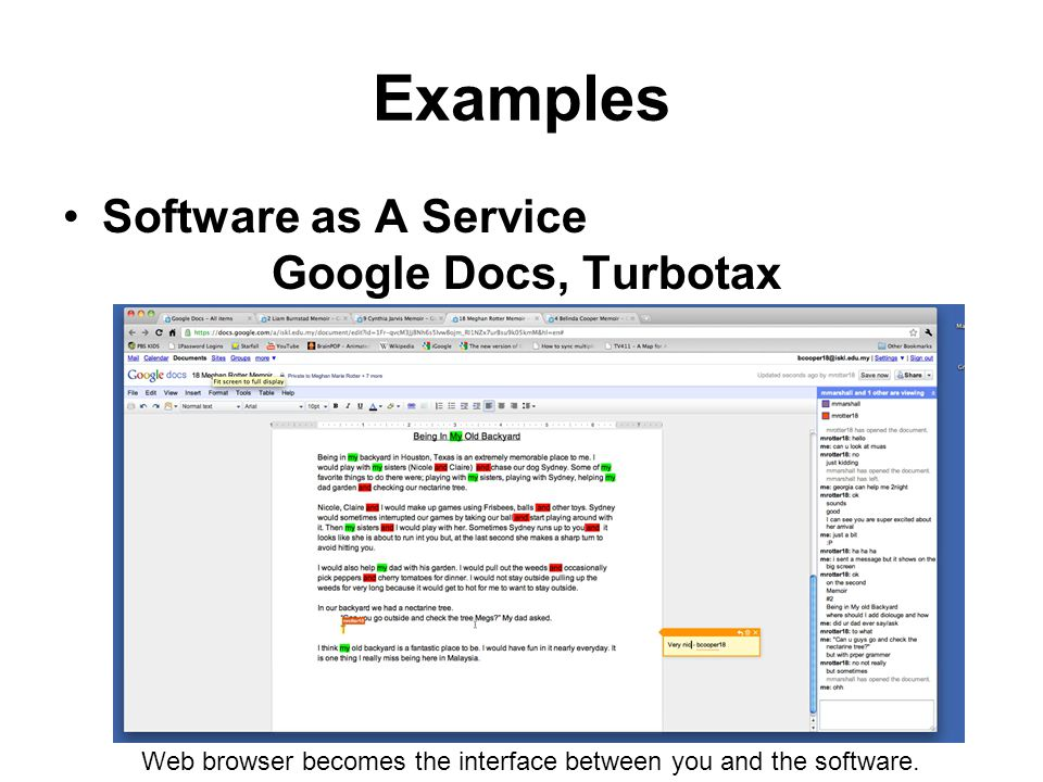 Examples Software as A Service Google Docs, Turbotax Web browser becomes the interface between you and the software.