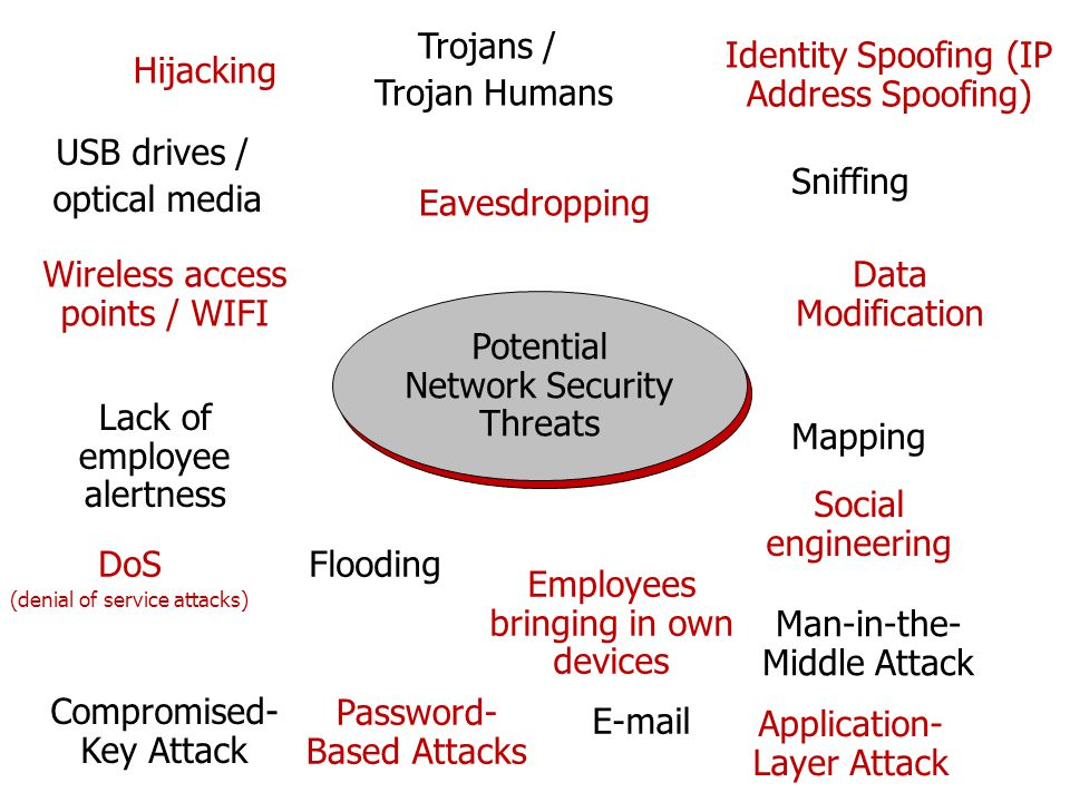 Potential Network Security Threats Identity Spoofing (IP Address Spoofing) Sniffing Mapping Social engineering DoS (denial of service attacks) Trojans