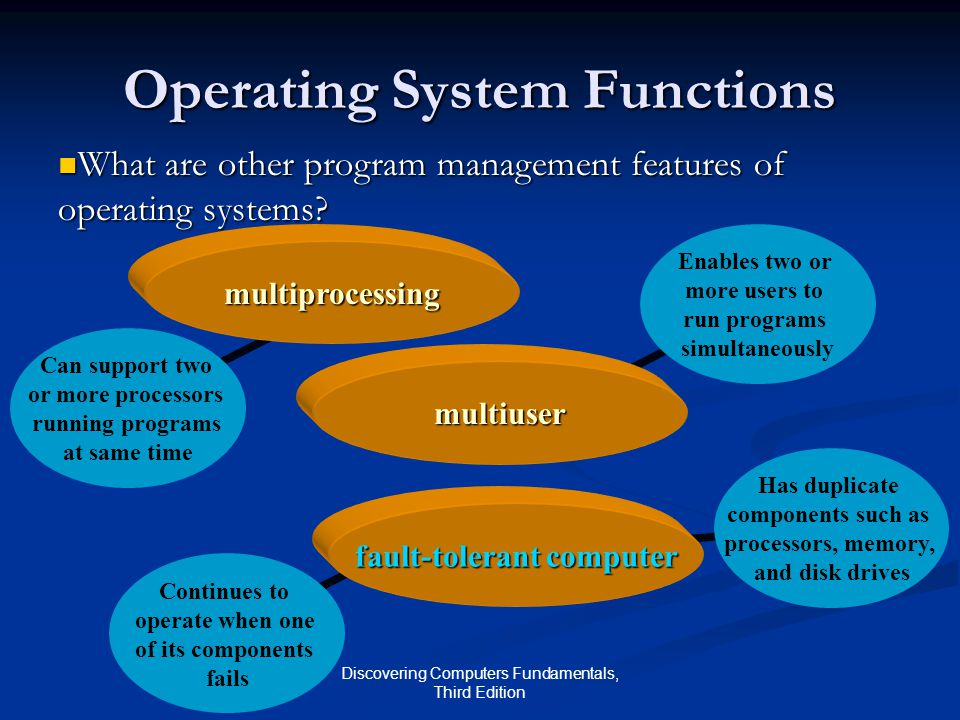 Discovering Computers Fundamentals, Third Edition Has duplicate components such as processors, memory, and disk drives Enables two or more users to run programs simultaneously Continues to operate when one of its components fails Operating System Functions What are other program management features of operating systems.