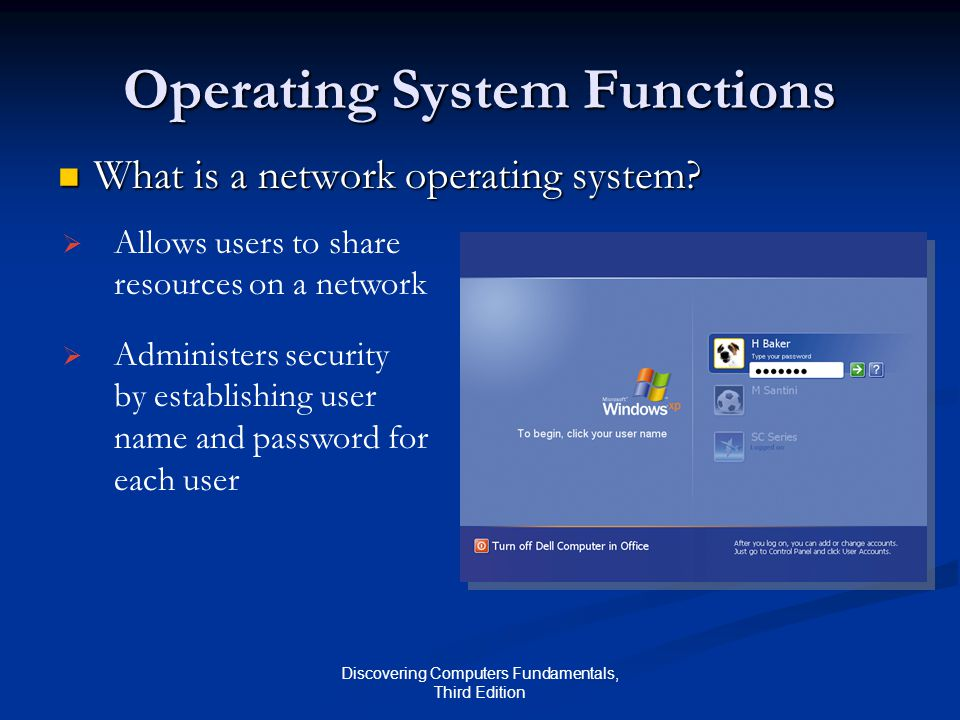 Discovering Computers Fundamentals, Third Edition Operating System Functions What is a network operating system.