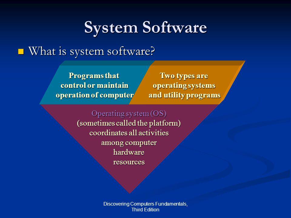 Discovering Computers Fundamentals, Third Edition System Software What is system software? What is system software? Operating system (OS) (sometimes c
