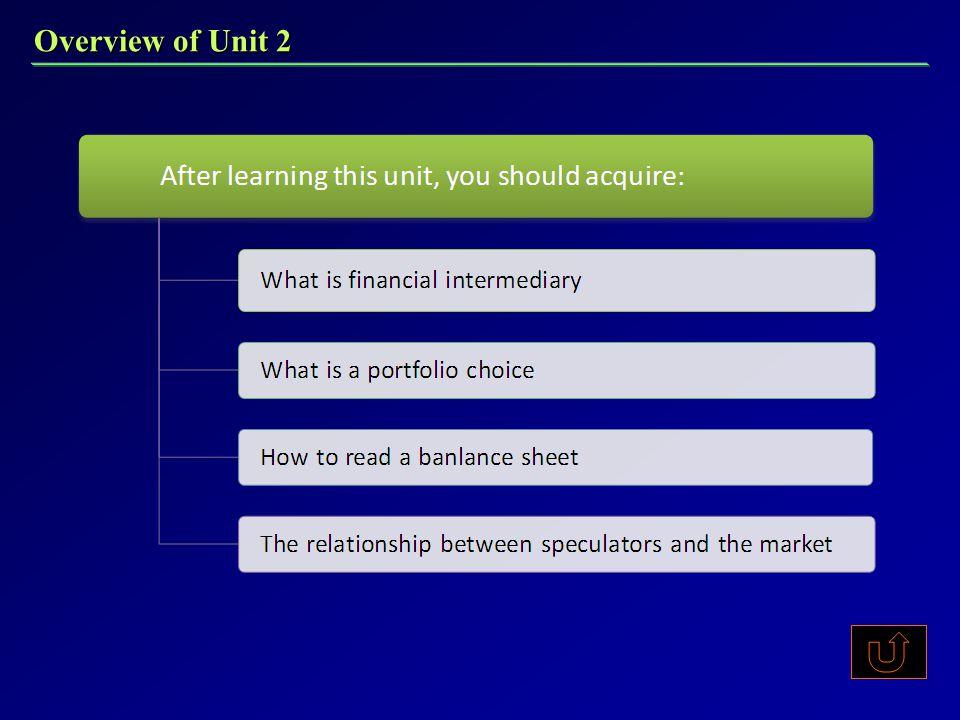 Overview of Unit 2 本章旨在 本章旨在 通过对金融投资机构、投资组合以及投机者市 场关系的介绍让学生对金融投资有初步概念, 并了解其中一些相关理论。本章重点难点 什么是金融中介机构 什么是投资组合 如何看资产负债表 投机者与市场的关系