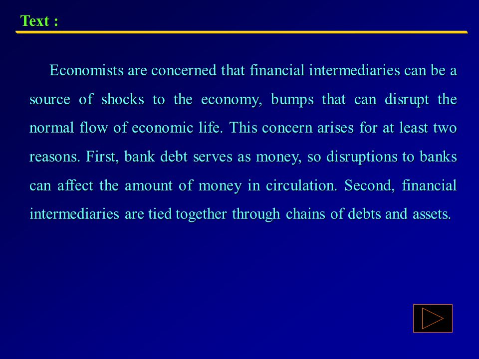 Text : A SOURCE OF SHOCKS AND BUMPS TO THE ECONOMY In addition to lending money to individuals and groups, there are other ways in which banks are part of financial markets.