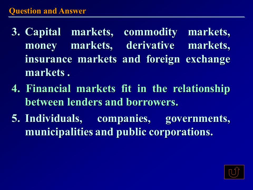 3.Capital markets, commodity markets, money markets, derivative markets, insurance markets and foreign exchange markets.