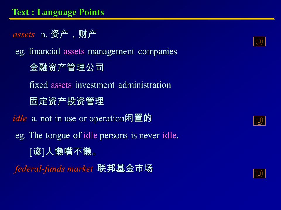 Text : Language Points bad loan 呆帐, 过期未还的贷款 convert v. to exchange (a security, for example) by substituting an equivalent of another form. 更换:将(如一种证券