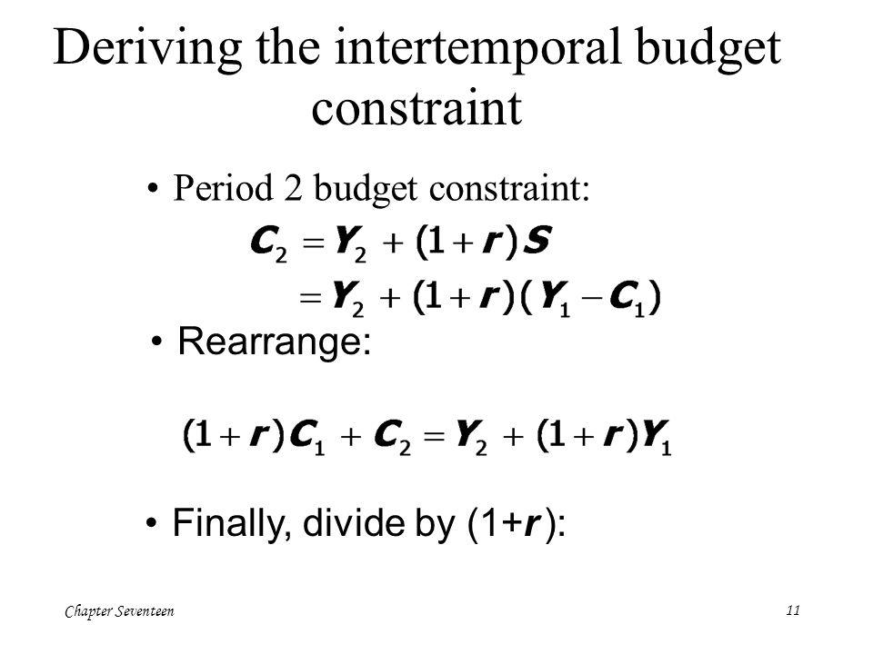 Chapter Seventeen11 Deriving the intertemporal budget constraint Period 2 budget constraint: Rearrange: Finally, divide by (1+r ):