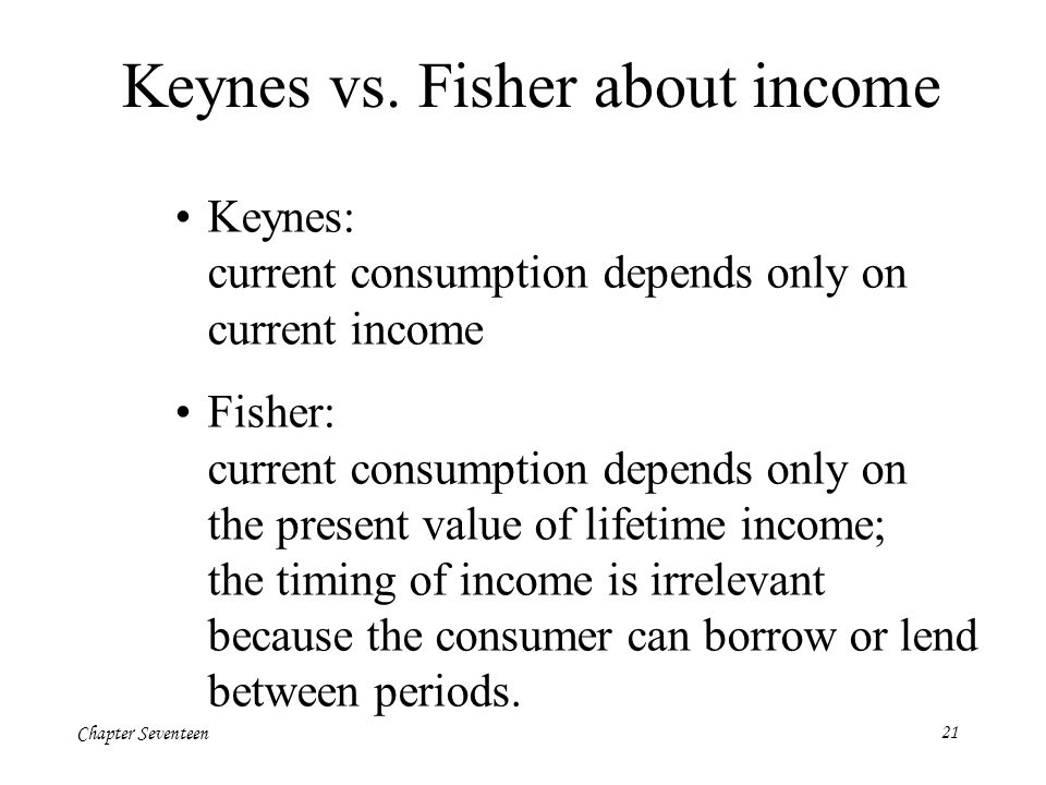 Chapter Seventeen21 Keynes vs. Fisher about income Keynes: current consumption depends only on current income Fisher: current consumption depends only