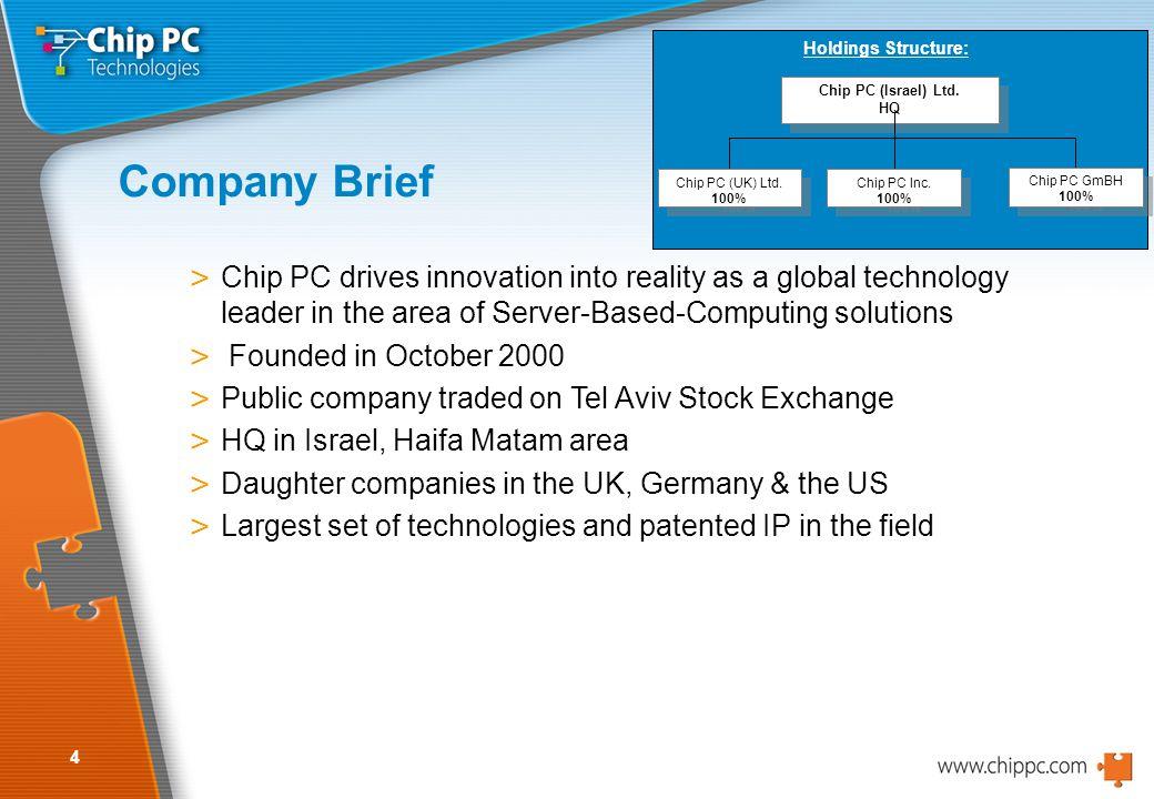 4 Company Brief Chip PC (Israel) Ltd. HQ Chip PC (Israel) Ltd.