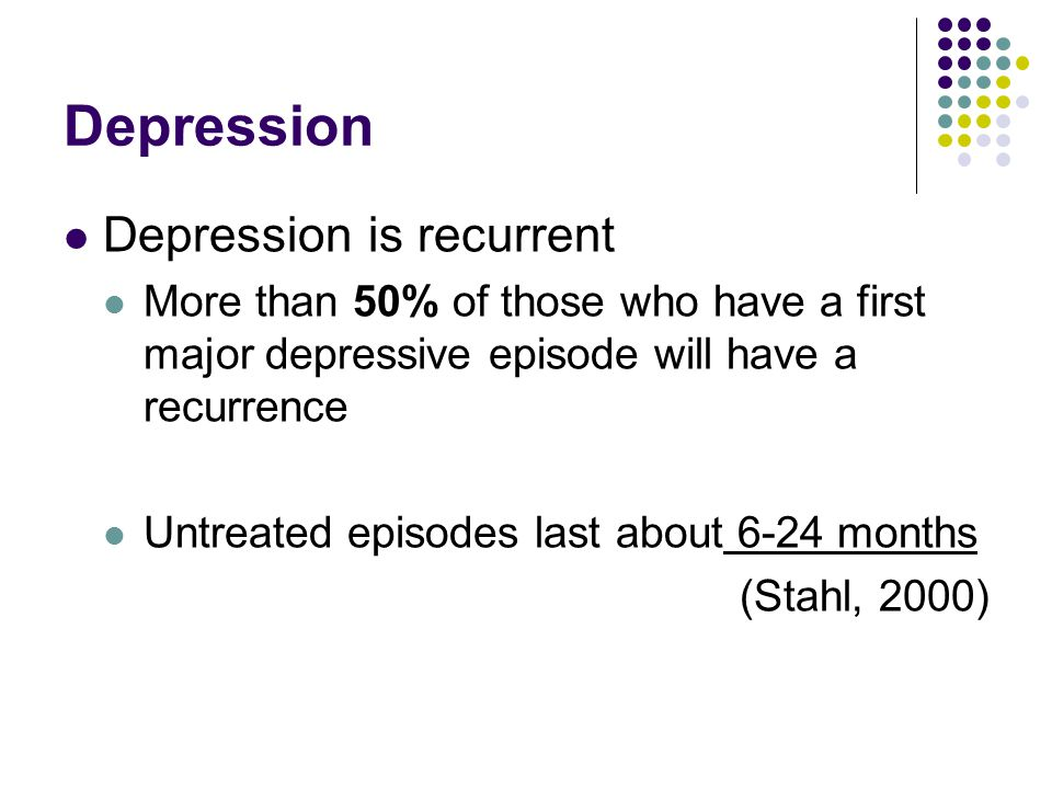 Depression Depression is recurrent More than 50% of those who have a first major depressive episode will have a recurrence Untreated episodes last about 6-24 months (Stahl, 2000)