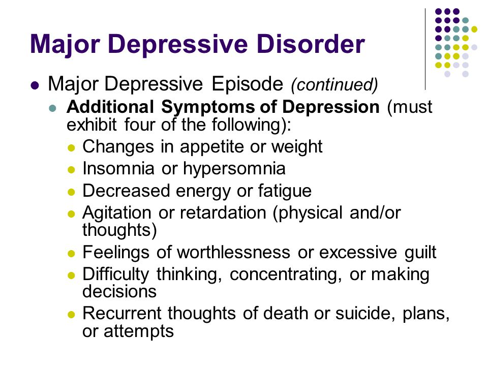 Major Depressive Disorder Major Depressive Episode (continued) Additional Symptoms of Depression (must exhibit four of the following): Changes in appe
