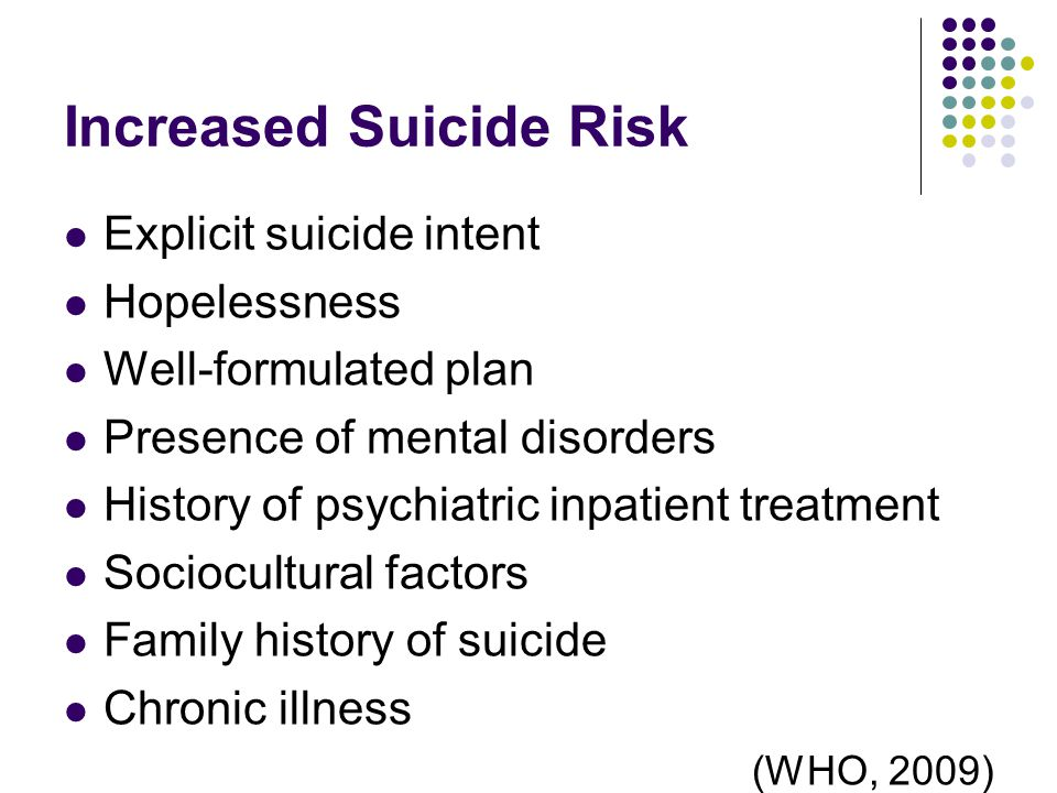 Increased Suicide Risk Explicit suicide intent Hopelessness Well-formulated plan Presence of mental disorders History of psychiatric inpatient treatment Sociocultural factors Family history of suicide Chronic illness (WHO, 2009)