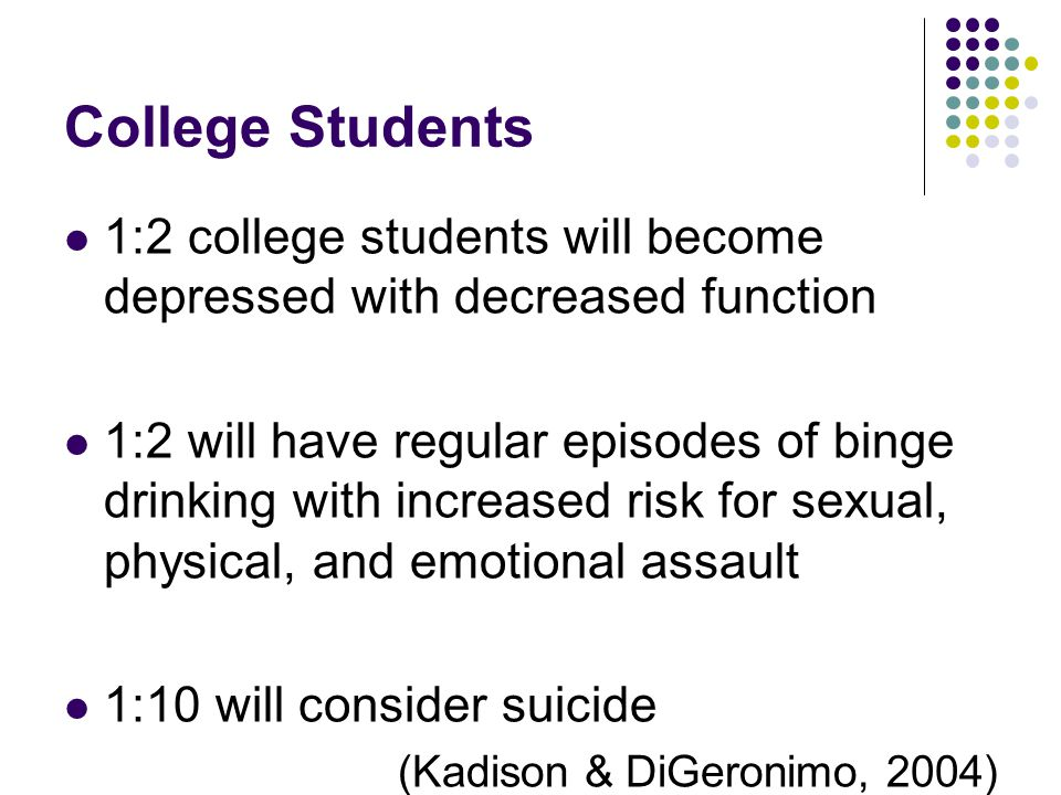 College Students 1:2 college students will become depressed with decreased function 1:2 will have regular episodes of binge drinking with increased ri