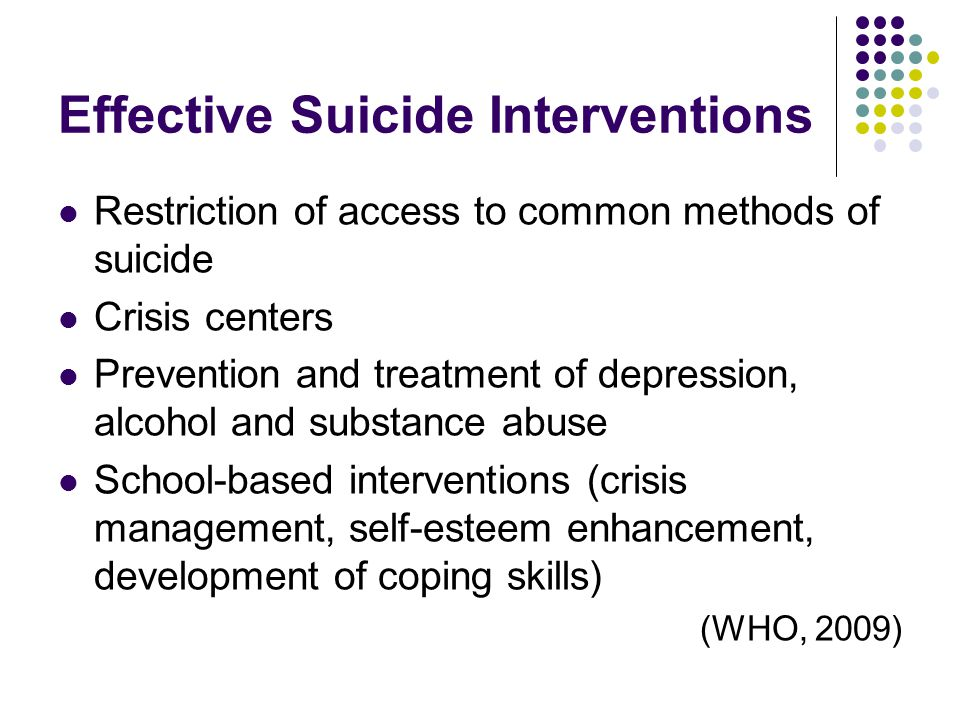 Effective Suicide Interventions Restriction of access to common methods of suicide Crisis centers Prevention and treatment of depression, alcohol and