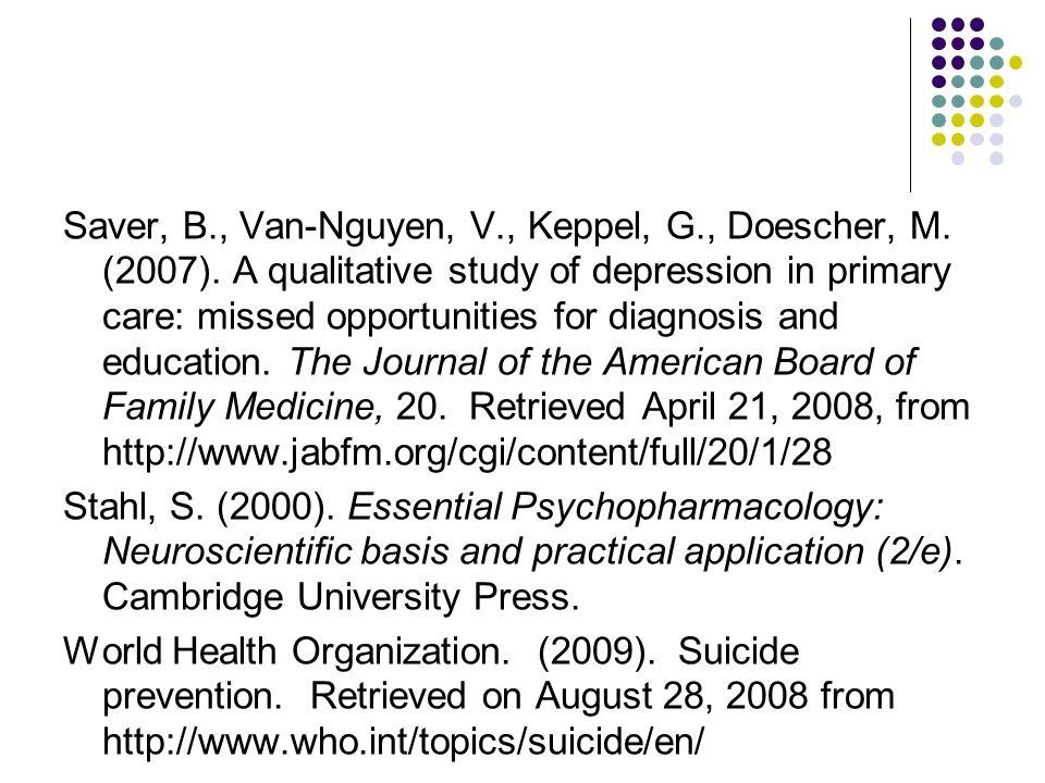 Saver, B., Van-Nguyen, V., Keppel, G., Doescher, M.