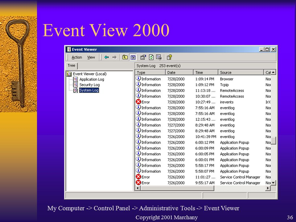 Copyright 2001 Marchany36 Event View 2000 My Computer -> Control Panel -> Administrative Tools -> Event Viewer