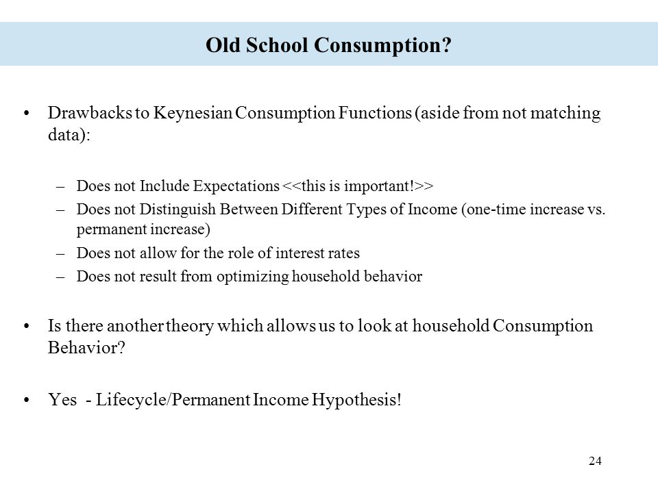24 Old School Consumption? Drawbacks to Keynesian Consumption Functions (aside from not matching data): –Does not Include Expectations > –Does not Dis