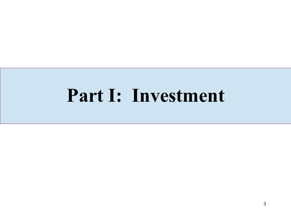 3 Part I: Investment