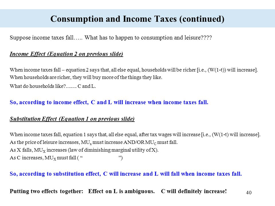 40 Consumption and Income Taxes (continued) Suppose income taxes fall….. What has to happen to consumption and leisure???? Income Effect (Equation 2 o