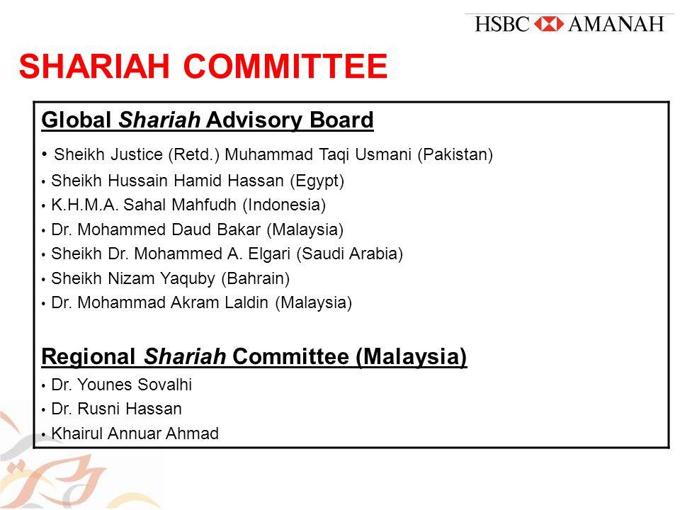 SHARIAH COMMITTEE Global Shariah Advisory Board Sheikh Justice (Retd.) Muhammad Taqi Usmani (Pakistan) Sheikh Hussain Hamid Hassan (Egypt) K.H.M.A.