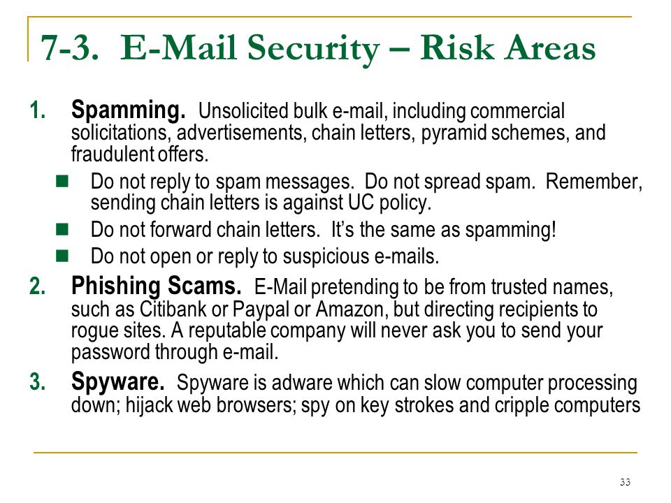 33 7-3. E-Mail Security – Risk Areas 1. Spamming. Unsolicited bulk e-mail, including commercial solicitations, advertisements, chain letters, pyramid