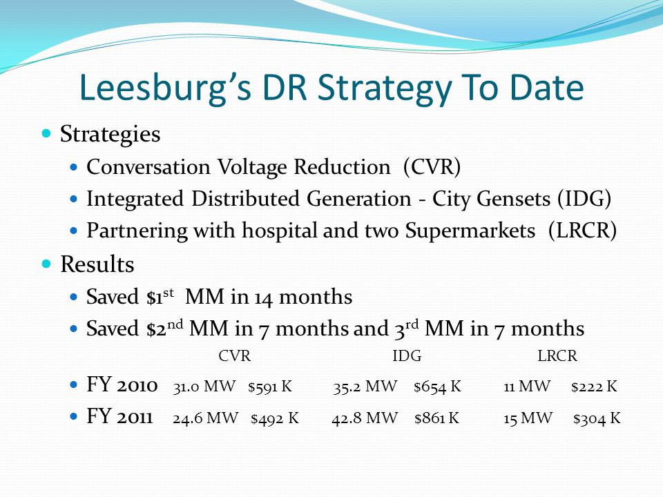 Leesburg's DR Strategy To Date Strategies Conversation Voltage Reduction (CVR) Integrated Distributed Generation - City Gensets (IDG) Partnering with hospital and two Supermarkets (LRCR) Results Saved $1 st MM in 14 months Saved $2 nd MM in 7 months and 3 rd MM in 7 months CVR IDG LRCR FY 2010 31.0 MW $591 K 35.2 MW $654 K11 MW $222 K FY 2011 24.6 MW $492 K 42.8 MW $861 K15 MW $304 K